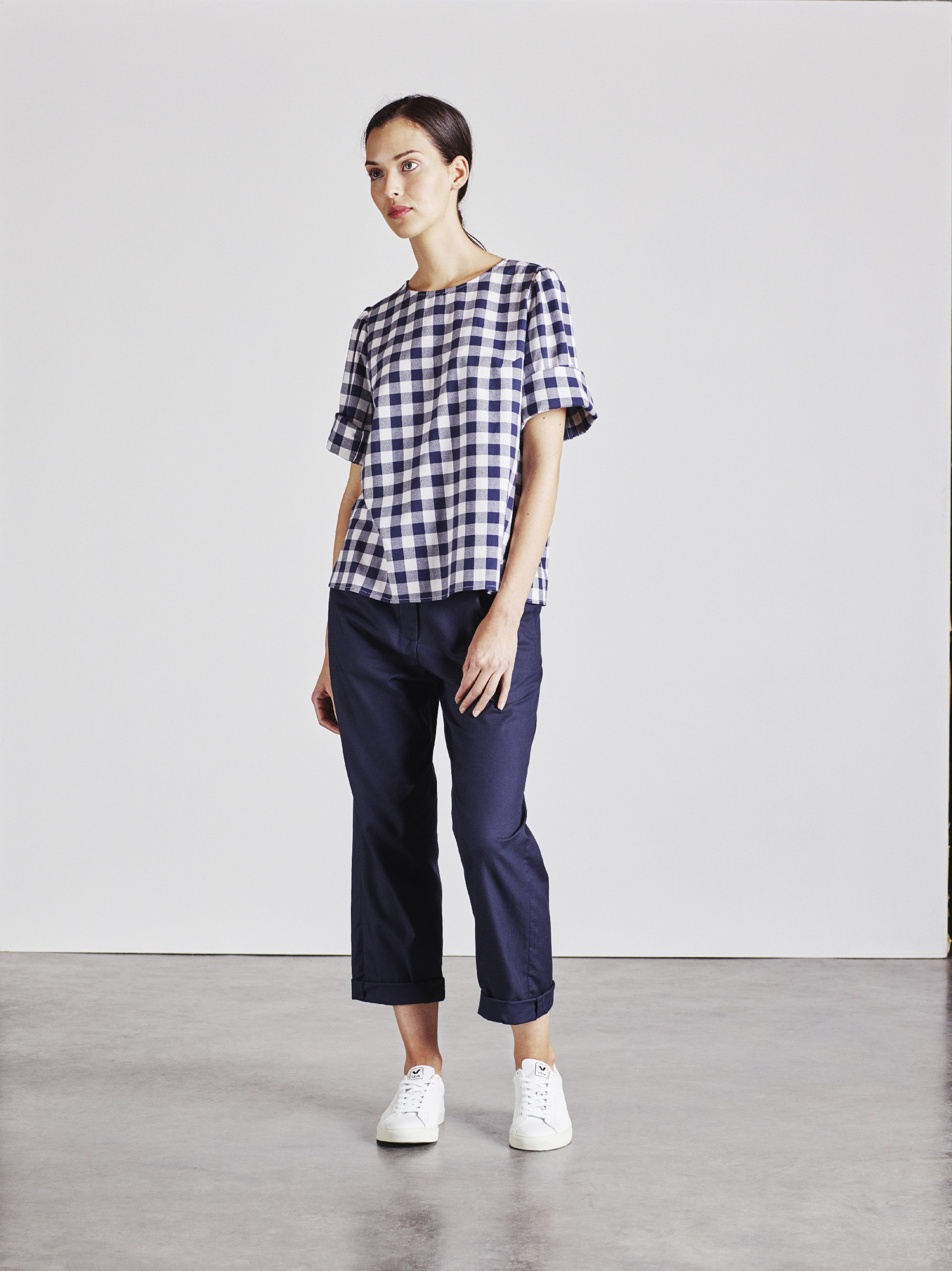 The Rachael top in blue and white check
