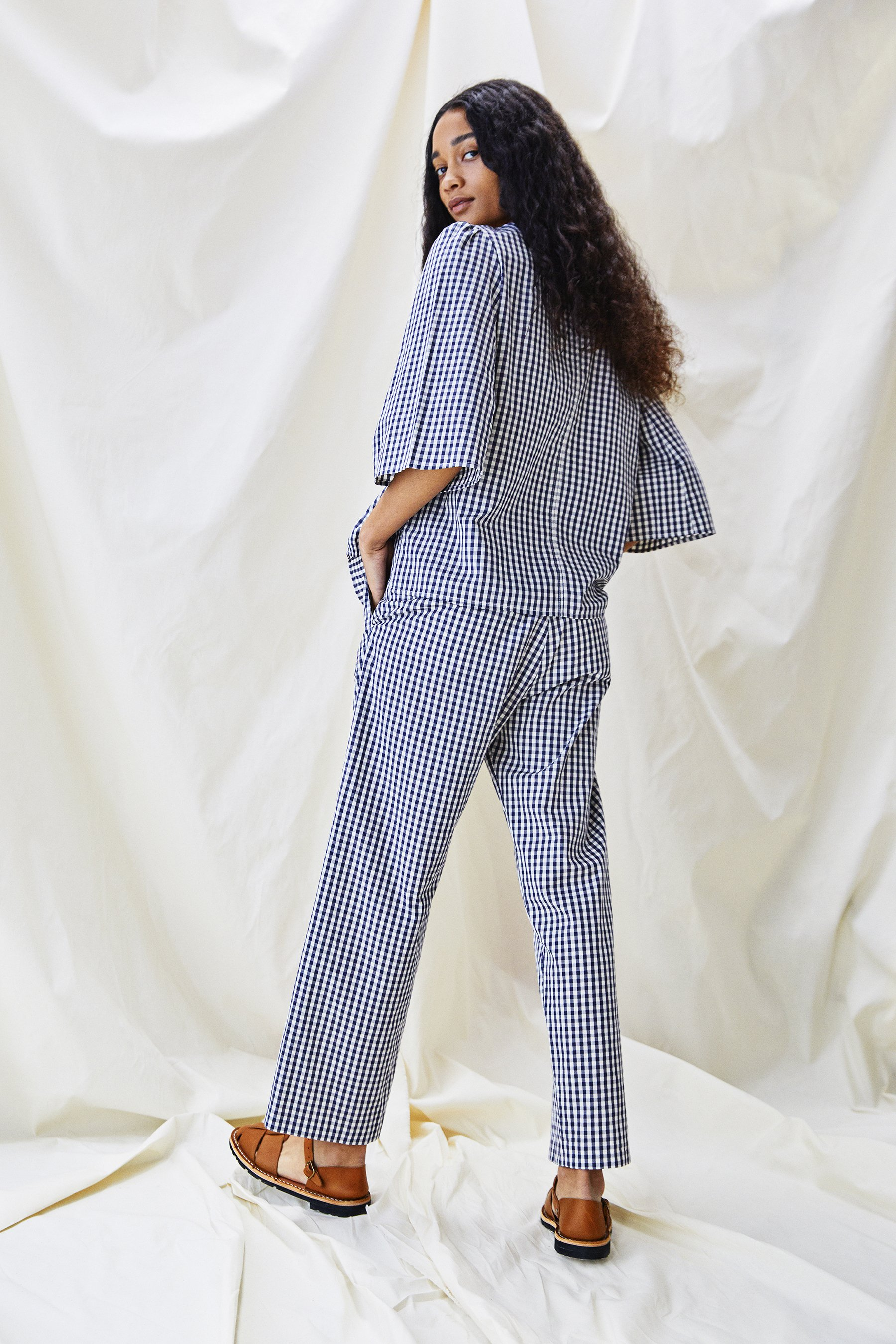 Alice Early The Ford trouser in blue  and white mini check