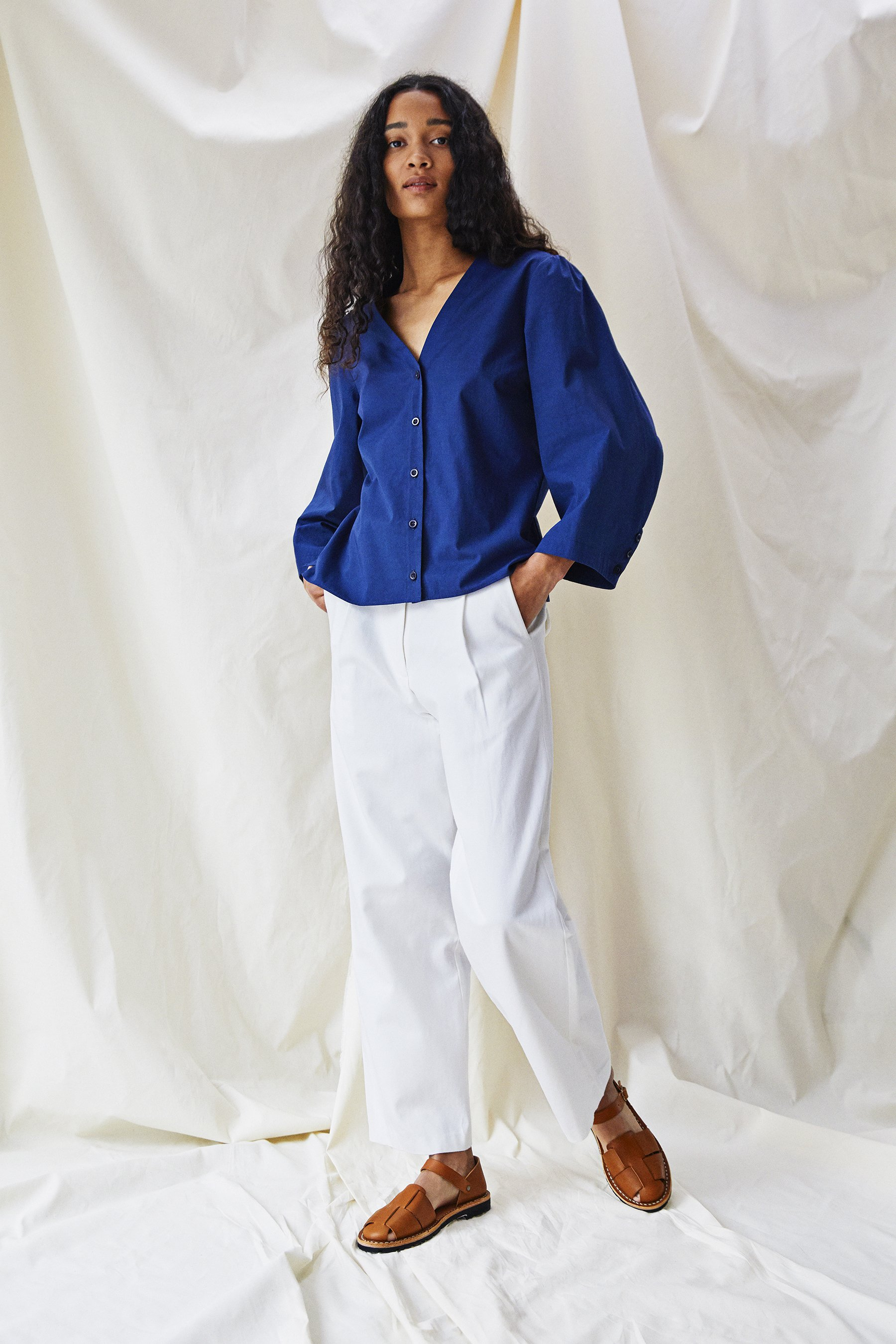 Alice Early organic cotton white trousers