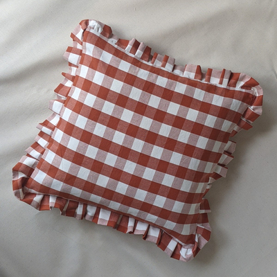Cutting Floor Cushions terracotta gingham cushion homewares at Sustainable Dept. Store